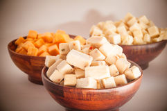 Cubed cheese Stock Images
