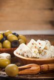 Cubed feta cheese with olives Royalty Free Stock Photography