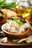 Cubed feta cheese with olives Stock Photos
