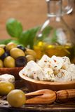 Cubed feta cheese with olives Royalty Free Stock Photo