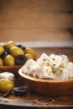 Cubed feta cheese with olives Stock Photo