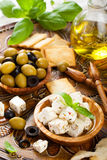 Cubed feta cheese with olives Royalty Free Stock Photos