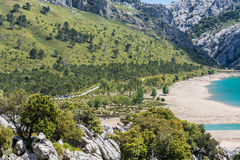 Cuber水库在山脉de Tramuntana,马略卡,西班牙 库存图片