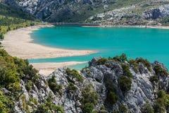 Cuber水库在山脉de Tramuntana,马略卡,西班牙 免版税库存图片