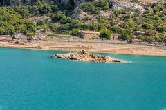 Cuber reservoir in the Sierra de Tramuntana, Mallorca, Spain. The artificial-scale Cuber reservoir in the Sierra de Tramuntana, Mallorca, Spain royalty free stock photos