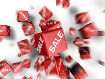 Cubes. A lot of cubes with sale word on side falling together Royalty Free Illustration