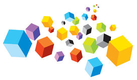 Cubes. Illustration of tumbling colorful cubes Stock Images