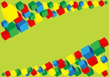 Cubes. Differently colored and sized cubes on light green background royalty free illustration