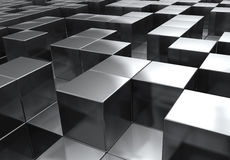 Cubes. A random stacking of chrome cubes in a maze like fashion vector illustration