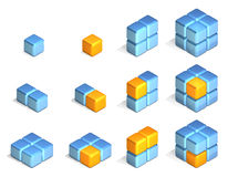 Cubes. In Three Dimensional Isometric Perspective Royalty Free Stock Photo