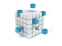 Cubes. Interconnected white and blue cubes - 3d render Stock Image