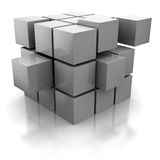 Cubes. Abstract 3d illustration of cube cionstruction with blocks Stock Photos