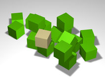 Cubes. Group of cubes of one size diversly located in three-dimensional space Stock Photo