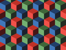 Cubes. Infinite background, green, blue and red Stock Photography