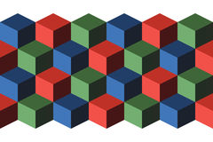 Cubes. Infinite background, green, blue and red Stock Images
