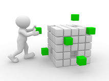 Cubes. 3d people - man, person with cubes Royalty Free Stock Photography