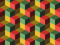 Cubes. Infinite background, green, yellow and red Royalty Free Stock Photo