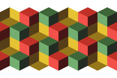 Cubes. Infinite background, green, yellow and red Stock Photos