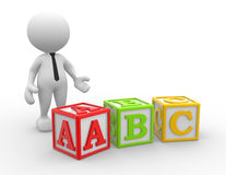 Cubes. 3d people - man, person with alphabet ABC cubes Stock Images