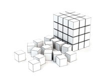 Cubes 3D. Some cubes are collected in a design which fall Royalty Free Stock Images