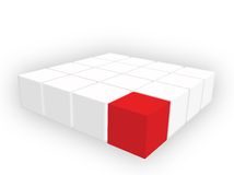 Cubes. Organized group of cubes of red and white colors on white background Royalty Free Stock Photography