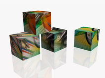 Cubes. Business cubes on white reflection background Royalty Free Stock Photos