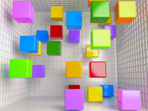 Cubes abstract background, 3D. Colored cubes abstract background, 3D rendering image royalty free illustration