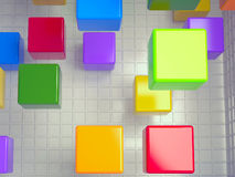 Cubes abstract background, 3D. Colored cubes abstract background, 3D rendering image Royalty Free Stock Images