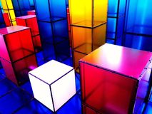Cubes abstraits en couleur au Danemark Photo stock