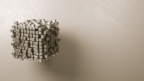 Cubes Aggregation on Grey Background Stock Images