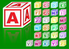 Cubes alphabet. Vector color cubes alphabet on a green background stock illustration