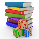 Cubes alphabet and books (education concept). 3d illustration Stock Image