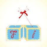 Cubes alphabet F Stock Image