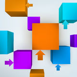 Cubes with arrows. Vector illustration of 3d cubes with arrows Royalty Free Stock Photos