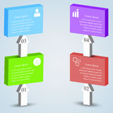 Cubes with arrows. Colorful business cubes with arrows 3D and icons. Business concept with 4 options, steps or processes. Can be used for workflow layout Stock Photos