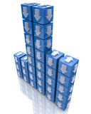 Cubes with arrows. At registration information associated with the idea and direction Stock Photography