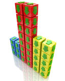 Cubes with arrows. At registration information associated with the idea and direction Royalty Free Stock Photography
