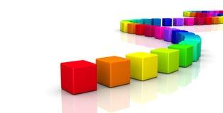 Cubes au néon lumineux en couleur dans la rangée incurvée Photos libres de droits