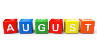 Cubes with August sign Stock Photo