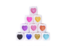 Cubes avec des formes de coeur Photographie stock libre de droits