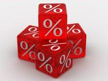 Cubes avec des pour cent Photo libre de droits