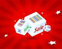 Cubes avec des remises d'une inscription Photographie stock libre de droits