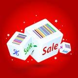 Cubes avec des remises d'une inscription Image libre de droits