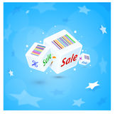Cubes avec des remises d'une inscription Images stock