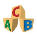 Cubes avec l'icône de bande dessinée d'ABC de lettres Photos stock