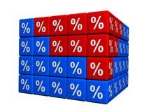 Cubes avec le symbole de pour cent Photos libres de droits