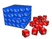 100 cubes avec le symbole de pour cent Photo libre de droits