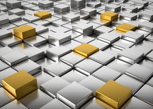 Cubes background. Abstract background of silver and golden metallic cubes - 3d render Royalty Free Stock Image