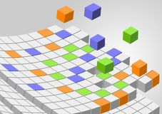 Cubes background. An illustration of 3d cubes flying in the space royalty free illustration