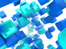 Cubes background. Abstract 3d illustration of blue cubes background Royalty Free Stock Photo